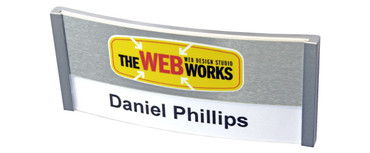 Convex Pro name badges - Brushed silver aluminium strip | www.namebadgesinternational.co.uk
